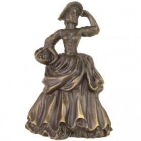 Tafelbel van brons vrouw met mand 01tj
