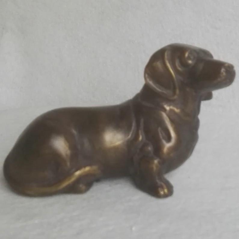 Bronzen beeldje van Teckel - beeldje - brons - 15x8x9.5cm