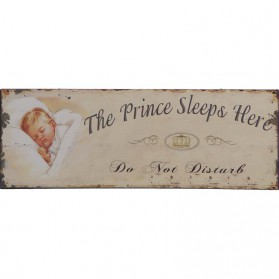 The prince sleeps here decoratie bordje kinderkamer 081sn