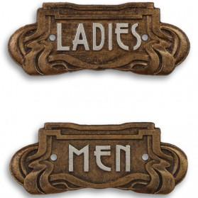 Toiletbordje – men - ladies – art nouveau - bronskleurig - gecoat - gietijzer – Maddeco – 19x1x8 cm