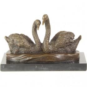 Verliefd koppel zwanen bronzen beeldje 741rb