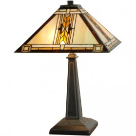 Vierkante Tiffany tafellamp Art Decostijl 301ft