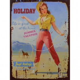 Vintage holiday decoratie bordje met pin-up