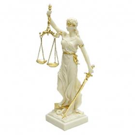 Vrouwe justitia - beeld - ivoorkleur met goudkleurige accenten - 29x26x75cm