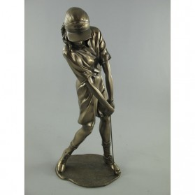 Vrouwelijke golfer bronskleurig beeld 300033