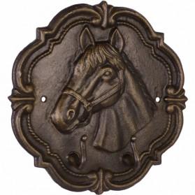 Wandbord met paarden hoofd - gietijzer met kledinghaken 37gn