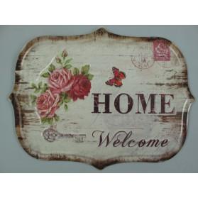 Welcome luxe blikken decoratie bordje met rozen en vlinder