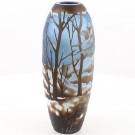 Winterlandschap - vogels - vaas- cameo glas - emile galle - 14.2x14.2x36cm