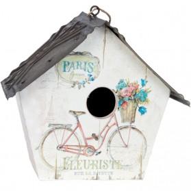 Wit houten vogelhuisje met parijs en fiets er op 51hvb