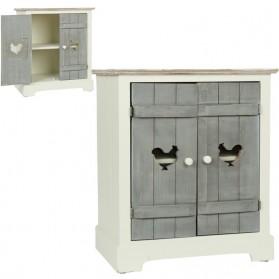 Wit met grijs nachtkastje - 2 deurtjes - met hanen 9800h5