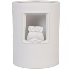 Witte keramieken tafellamp met uilen 522pml6