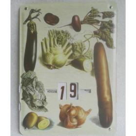 kalender,groenten,metaal