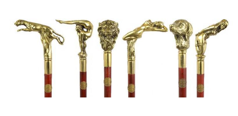 Houten wandelstokken met bronzen handvat nu in ons assortiment