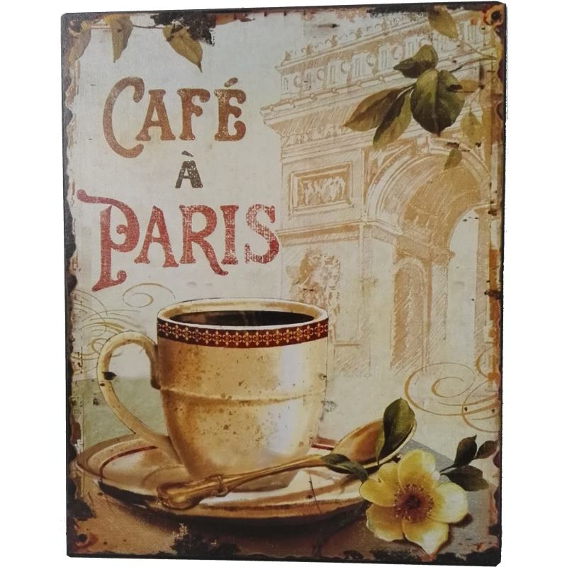 Paris cafe horeca decoratie bordje koffie sl004 - Decoratie themakamer paris ...